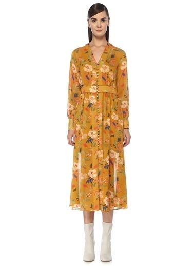 Beymen Club V Yaka Çiçekli Önü Düğmeli Midi Şifon Elbise Sarı